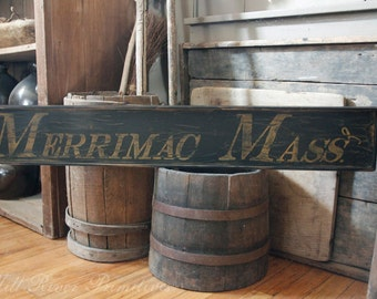 Aged Primitive Early Looking Personalized Massachusetts Wood Sign Mass.