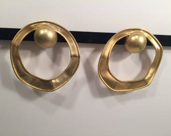 Large gold Vintage 80's 90's statement clip on earrings hoops