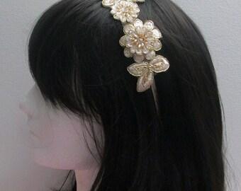 Gold Bridal Headband, Gold Lace Bridal Headband, Bridal Headband Headpiece Wedding Hair Accessories, Wedding Headpiece, Bridesmaid Hair Band