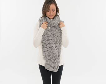 Vegan Extra Long Chunky Knit Wool-Free Ribbed Open End Scarf / Cowl Cozy Neck Warmer, Women's Crocheted Handmade Winter Accessory / GRAY