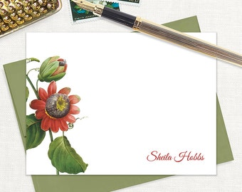 personalized flat note cards - PASSION FLOWER - set of 12 cards - floral stationery - stationary - botanical - tropical flower