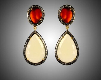 Sterling Silver Diamond  Lemon Topaz & H. Garnet Earrings -ESDE-418SC