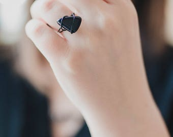 Blue Goldstone Ring - Wire Wrapped Ring - Blue Goldstone - Statement Ring - Sparkling Ring - Blue Goldstone Jewelry - Wire Ring with Stone