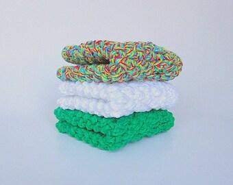 Washcloths  Bath Set Cotton Dishcloths 3 Eco Friendly Cloths Ready To Ship