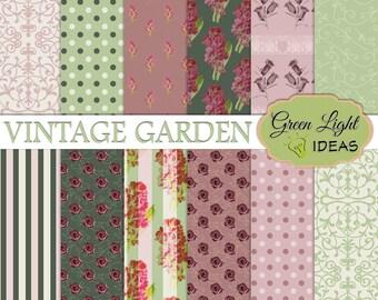 Spring Vintage Digital Paper, Floral Junk Journal Printable Paper, Spring Shabby Background, Spring Floral Papers, Spring Scrapbook Paper