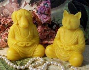 Beeswax Meditation Set of 2  Buddha Zen Yoga Dog and Cat Candles
