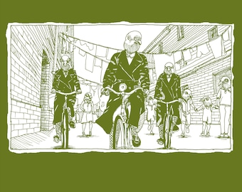 Organic Unisex T-shirt - Pigeons riding bicycles Inspired by the TV series, Call the Midwife!