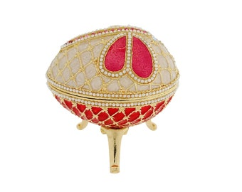Dragonfly Diamante Faberge Style Egg Trinket Box, Decorated Egg Collectable Ornament - 8cm