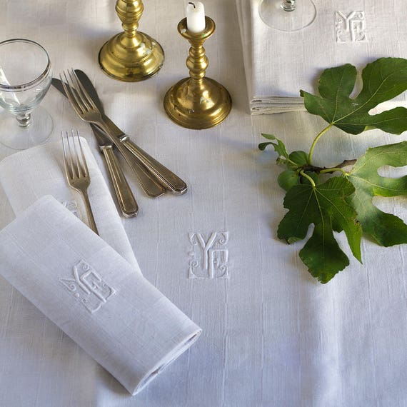 Monogrammed French Linen Woven Check Tablecloth & Napkins - set of 6