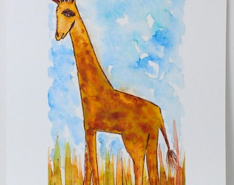 Folk Art Giraffe - Giraffe Painting - Folk Art Painting - Watercolor - Giraffe Lovers - Nursery Decor - Giraffe Art - Giraffe Illustration