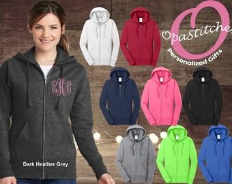 Monogrammed Ladies hoodies Bridesmaid Full Zip Jacket ,Zip Up Sweatshirt, custom ladies zip up jacket nursing and teacher gift