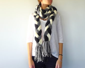 Long braided scarf. Knit fringe scarf. Women's loop scarf. Winter knitted scarf. Gift idea for her. Unique handmade scarves
