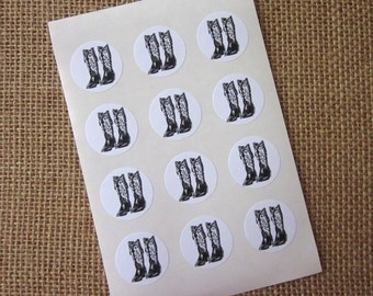Cowboy Boots Stickers One Inch Round Seals