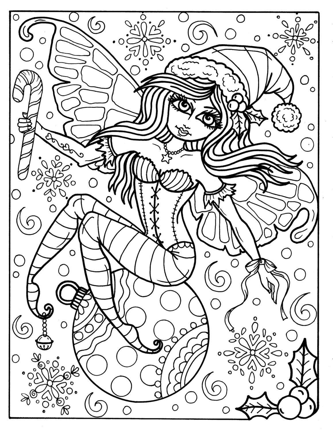 Fairy Christmas Elf Digital Instant Download Adult coloring