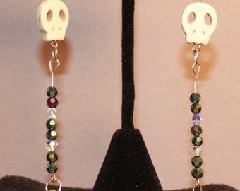 Extra Long Dangle Earrings Skull and Arrow