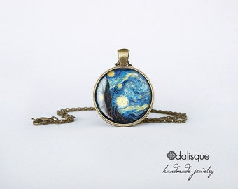 Van Gogh Starry Night Necklace Pendant Art jewelry Impressionism keyring cb29