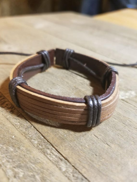 Tan Brown Wrapped Leather Adjustable Bracelet Native American Style Fashion Cuff  (B13)