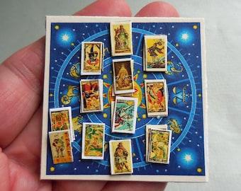 Dollhouse Miniature Halloween Tarot Board, Blue Celestial 1:12