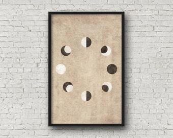 Mond-Druck, Mondphasen, Mond-Wand-Druck, Moon Poster, Mond-Drucke, Mond-Wand-Kunst, Mondphasen Druck, Mond Phasen Poster, La Lune