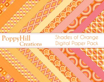 INSTANT DOWNLOAD - Printable Shades of Orange Digital Paper Pack - For Commercial or Personal Use - Digital Designs