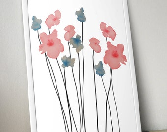 Blue & Pink Watercolor Flowers Wall Art Print - 8x10 PDF Instant Download