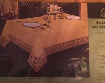 Vintage Gold Fabric Tablecloth |  Sleater No Iron | Holiday Table Cover