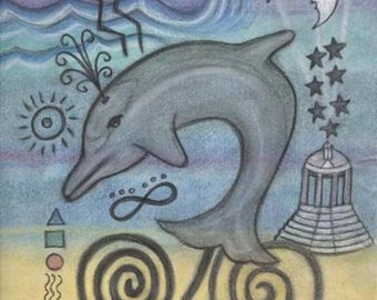 Dolphin Spirit Petroglyph Portrait - Sound, Touch and Dreamtime Healing - by Azurae Windwalker shamanic artist healer