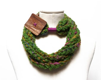 Loop Infinity Scarf Necklace, Crochet Scarflette Neckwarmer - multicolor green yarn with giant wood button