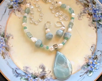 Handmade Amazonite and Freshwater Pearl Pendant Necklace & Earrings Set 925 Sterling Silver