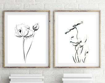 Minimalist floral Prints Set, Set of 2 Fine Art Prints, black and white flowers, ink drawing minimalist wall art