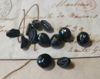 12 Diminutive Black Glass Buttons Tiny Little Small