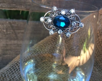 Blue Petra Wine Glass Marker