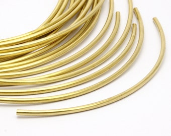 Brass Noodle Tube, 12 Raw Brass Curved Tubes (3x130mm) Bs 1420