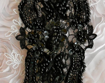 Black Cotton Crocheted Beaded Appliques