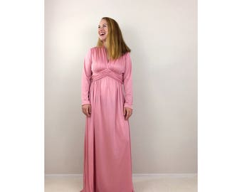 Vintage dusty pink dress | long sleeve maxi dress empire waist evening gown formal dress v neck spring dress | Miss Elliette | size large