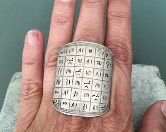 Tuareg Silver Protection Marabout Ring with Tifinagh signs, Inner Diameter  2.1 cm  Size Us 11.5