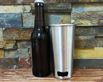 Personalized Beer Cup Opener- Engraved Stainless Steel Cup- Groomsmen Gift- Best Man- Silver