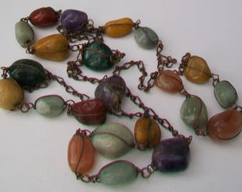 Long Polished Agate Wire-Caged Stones Necklace