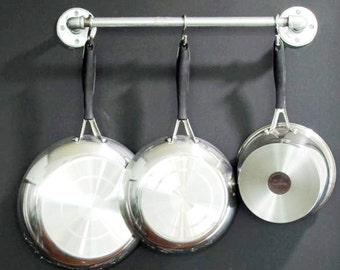 Industrial Galvanized Pot Rack.  Wall mounted pot holder.  Pot and Pan storage.