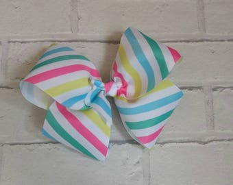 "Large 8"" Pastel Stripes Boutique Hair Bow like Jo Jo Siwa Bows Signature Keeper Dance Moms"