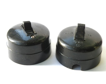 Vintage electric light switch 1940s, set of 2. Soviet bakelite carbolite light switch. Usable retro black electric siwtch. Industrial decor.