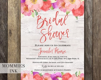 Bridal Shower Invitation, Watercolor Flowers Invitation, Floral Invitation, Birch Invitation, Floral Shower Invite, Modern Typography