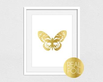 Butterfly Foil Print // Gold Foil // Rose Gold Foil // Silver Foil // Gold Butterfly Print // Butterfly // Girl Nursery Print // Butterflies