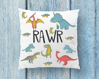 Dinosaur Pillow, Rawr Pillow, Rawr Decor, Dinosaur Boy Decor, Boys Room Pillow, Custom Name Pillow, New Baby Pillow, Dinosaur Decor, Rawr