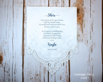 Mother of the Groom handkerchief from the Bride, wedding handkerchief from daughter in law, print,Mother of the groom gift from bride - MOG1