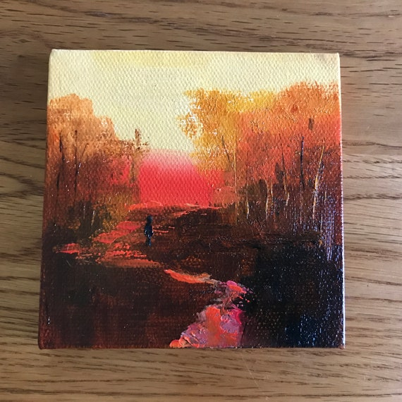 Sunset Painting, Miniature, Landscape Painting, Sunrise , Small Art