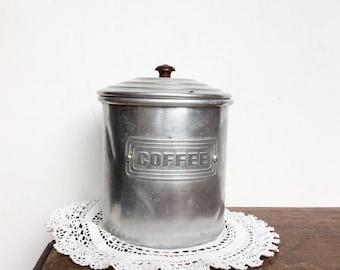 Vintage kitchen canister coffee storage jar 1940s home