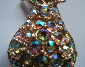 Vintage Stylish Pear with AB Stones  Brooch
