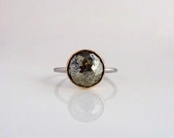 Pyrite Stacker Ring, Round Gemstone Ring, Handmade w Recycled 14k Yellow & White Gold, Anniversary Gift for Her