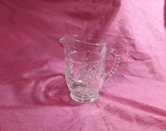 Vintage Cut Glass Creamer..Star Pattern..5-3/4 inches tall